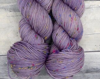 Dusk Purple (ooak) -  (Confetti Sock, tonal, tweed yarn) - hand dyed sock yarn