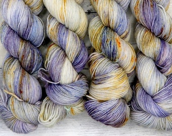OOAK -  (Everyday Sock, variegated, speckled yarn) - moody purple grey and orange gold, hand dyed sock yarn