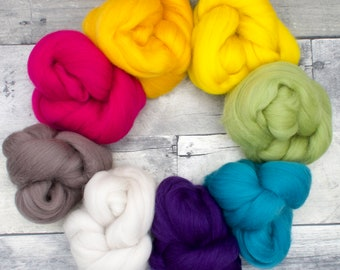 Little Bits, colorful Merino rainbow,  200g, wool roving, soft wool for spinning, spinning fiber