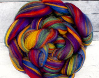 Rainbow Merino blend, 23 Micron, hand painted Combed Wool Top, 4oz wool roving, soft wool for spinning, spinning fiber