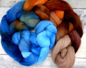 Polwarth, 23 Micron Hand Dyed Combed Wool Top, 4oz, wool roving, soft wool for spinning, spinning fiber