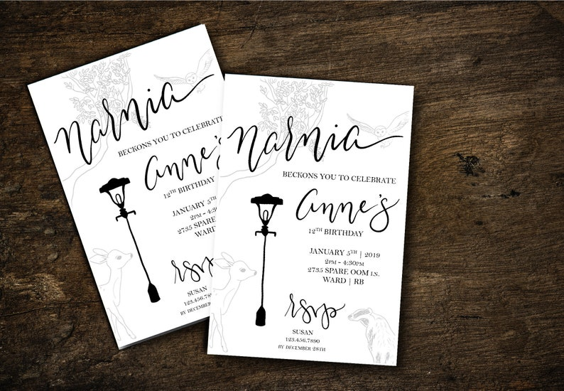 Mythical CS Lewis Lion Witch Wardrobe Invite Printable Invitation Digital INVITATION PRINTABLE Birthday Narnia Party Invitation