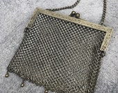 Antique Victorian 1910s 1920s Mesh Metal German Silver Purse chainmail