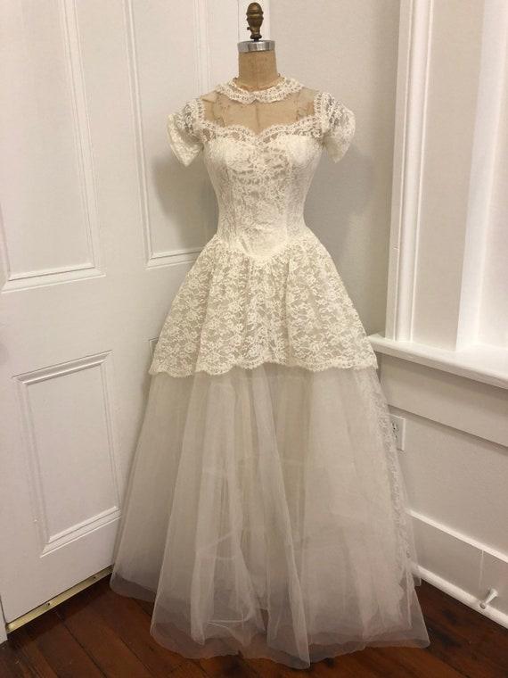 50's Tulle & Lace Dream Wedding Dress XXS