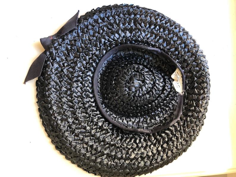 40s 50s Darkest Navy cartwheel style Straw Tilt Hat