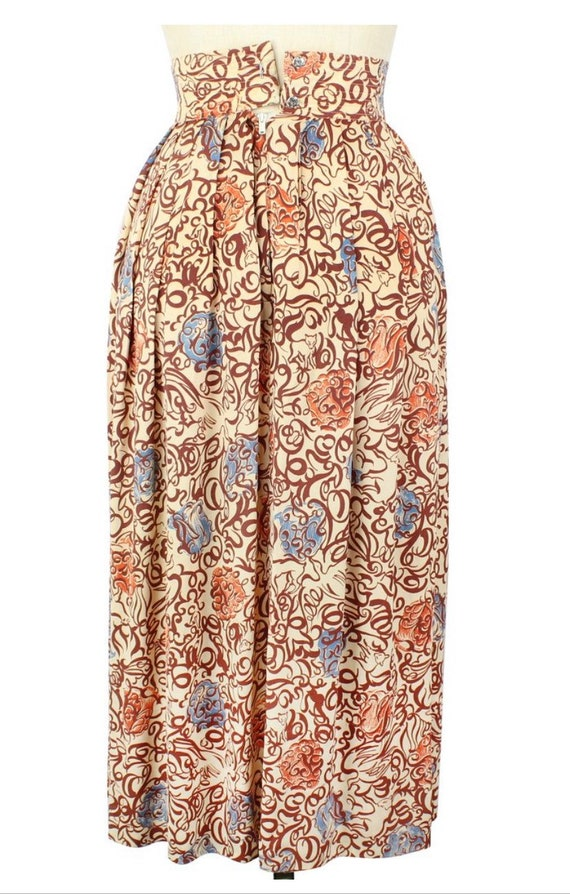 1940s Novelty Rayon Print Foxes Skirt XS - image 3