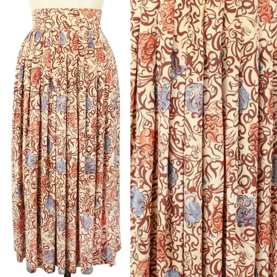 1940s Novelty Rayon Print Foxes Skirt XS