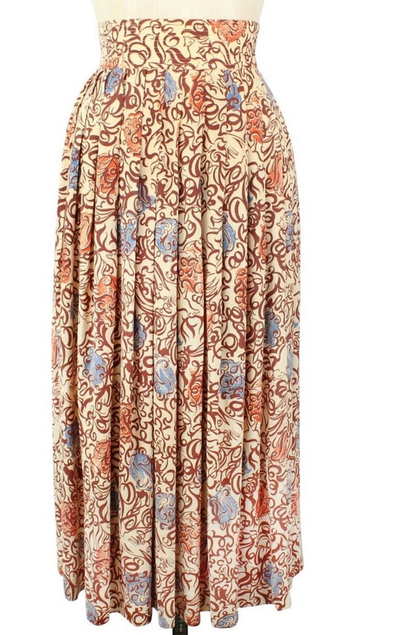 1940s Novelty Rayon Print Foxes Skirt XS - image 2