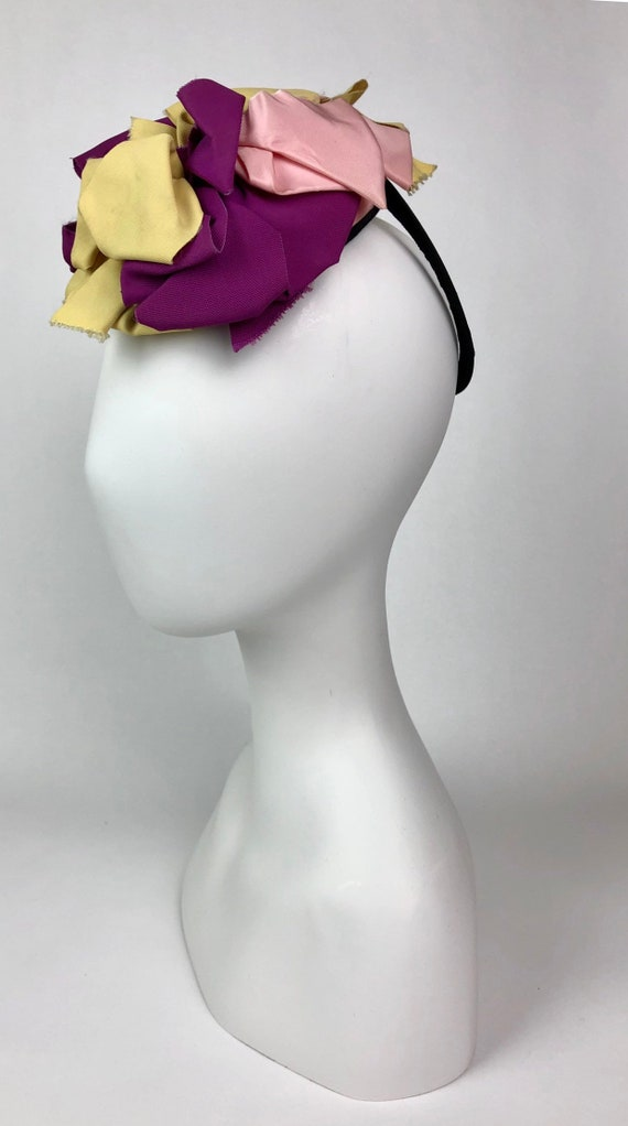 1940s ribbon fascinator Purple Yellow Pink