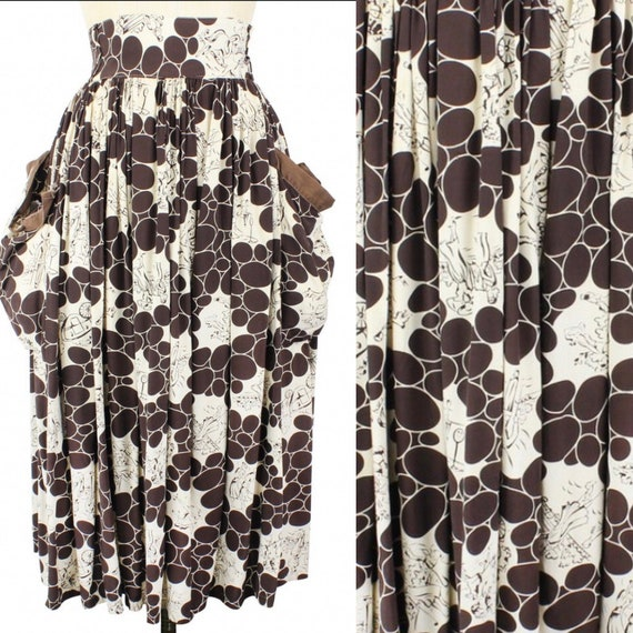 1940s HUGE pockets Novelty Print Rayon Skirt
