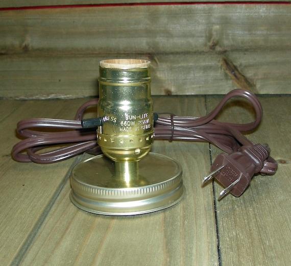Brass Mason Jar Lamp Kit Diy Mason Jar Lamp Mason Jar Light Brass Finish Brown Cord