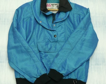 1e38f93153 Vintage NILS 90s Ski Jacket Womens Size 10 Made In USA Iridescent Blue  Pullover