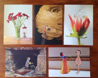 Set of 5 flower postcards