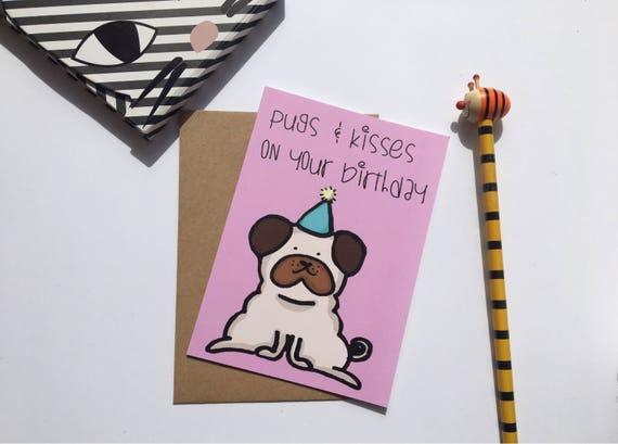 Alles Gute Zum Geburtstag Mops Karte Mopse Und Kusse Etsy