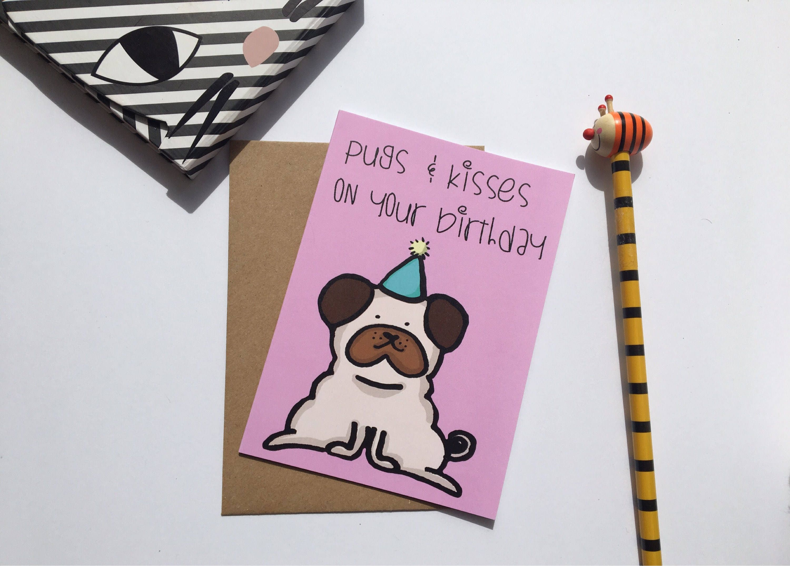 Happy Birthday Pug Card Pugs And Kisses Funny