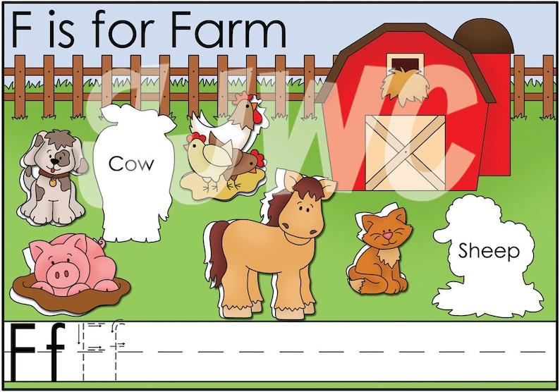 F is for FARM Alphabet File Folder Game  Downloadable PDF image 0