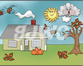 AUTUMN Build a House  Children's File Folder Game - Downloadable PDF Only