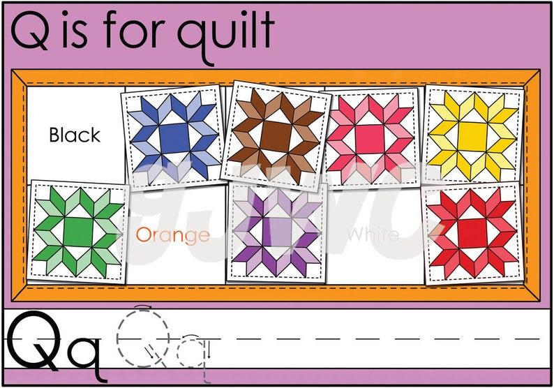 Q is for Quilt Alphabet File Folder Game  Downloadable PDF image 0