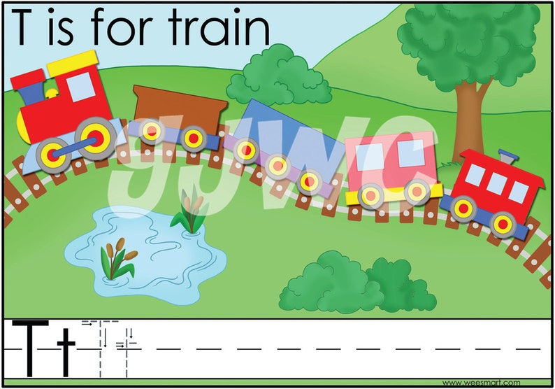 T is for Train Alphabet File Folder Game  Downloadable PDF image 0