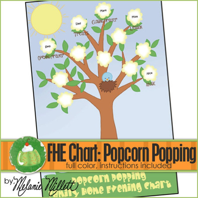 FAMILY HOME EVENING Chart  Popcorn Popping  Downloadable image 0