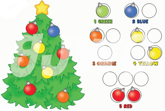 CHRISTMAS TREE  Counting/Color File Folder Game - Downloadable PDF Only