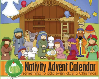 NATIVITY ADVENT Calendar - Downloadable PDF Only - Christmas Advent Calendar, Christmas, Baby Jesus, Calendar