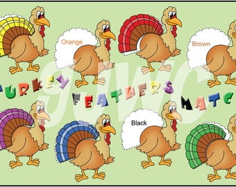 TURKEY FEATHER Match Children's File Folder Game - Downloadable PDF Only
