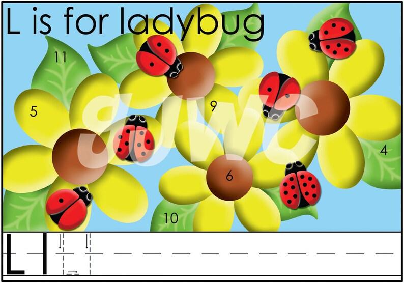 L is for LADYBUG Alphabet File Folder Game  Downloadable PDF image 0