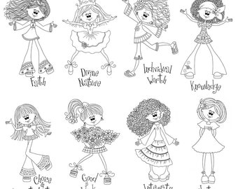 Cute Young Women Value Girls in Black and White  - Digital Clipart - Instant Downloadable JPG Files