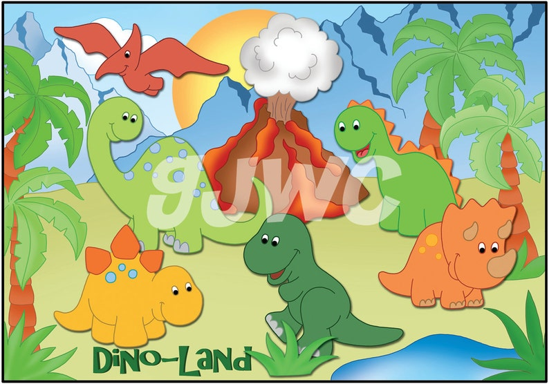 DINO LAND Children's File Folder Game  Downloadable PDF image 0