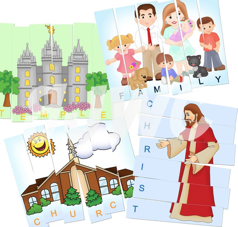 4 GOSPEL PUZZLE Strips Game  Downloadable PDF Only image 0
