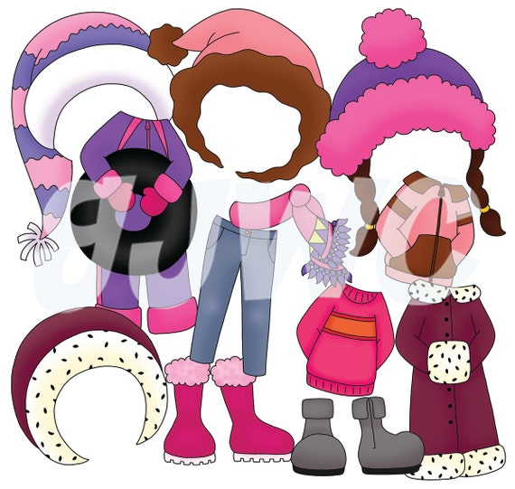 ADD ON Girl Dress Up Winter Clothes Children's File Folder Game - Downloadable PDF Only