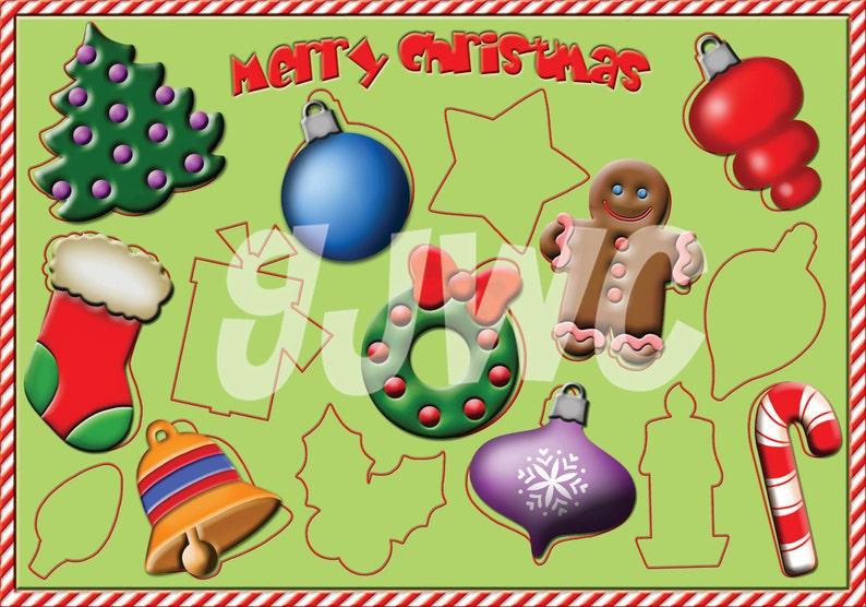 CHRISTMAS SHAPES  Children's File Folder Game  image 0