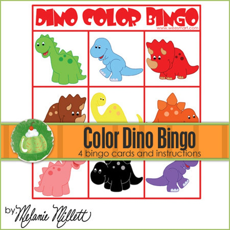DINO Color Match BINGO  Downloadable PDF Only image 0