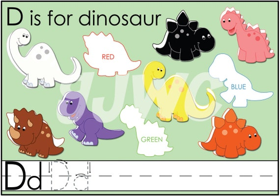 D is for DINOSAUR Alphabet File Folder Game - Downloadable PDF Only