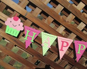 Cupcake chevron and polka dot Happy Birthday banner, Birthday banner, 1st birthday banner, Birthday decorations