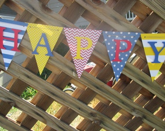 Chevron, polka dot and stripe  happy birthday banner, birthday banner, happy 1st birthday