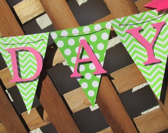 Chevron and polka dot happy birthday banner, birthday banner, happy 1st birthday