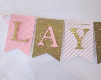Pink and glitter gold polka dot its a girl banner, baby shower decorations, Welcome baby banner