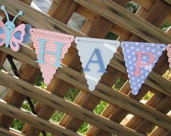 Chevron and polka dot Happy Birthday banner, Birthday banner, 1st birthday banner, Birthday decorations