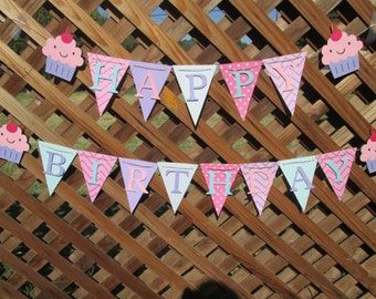 Cupcake chevron and polka dot Happy Birthday banner, Birthday banner, 1st birthday banner, Birthday decorations
