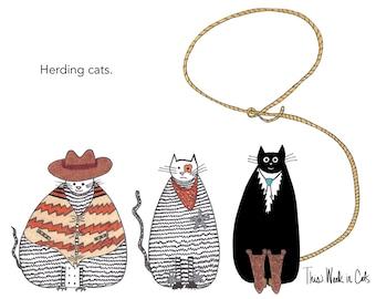 Cat card - Herding Cats Funny Cat Card Western Cats