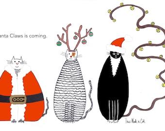 Cat card - Christmas Funny Cats Three Cats Santa Claus Claws Reindeer Ornament Jingle Bells Merry Xmas