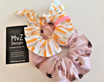 Carrot Scrunchies Scrunchies with Bow Fun Hair Accessory Carrot and Flower Print Hair Scrunchies Scrunchies to match Pet Bandanas