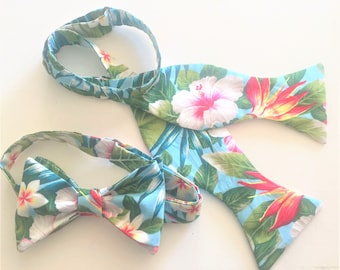 65679cec2b0a Bright Hawaiian Morning Bow Ties and Pockets Squares, Self or Pre-Tied. Sky  blue with Vibrant tropical blooms, Hibiscus, Birds of Paradise.
