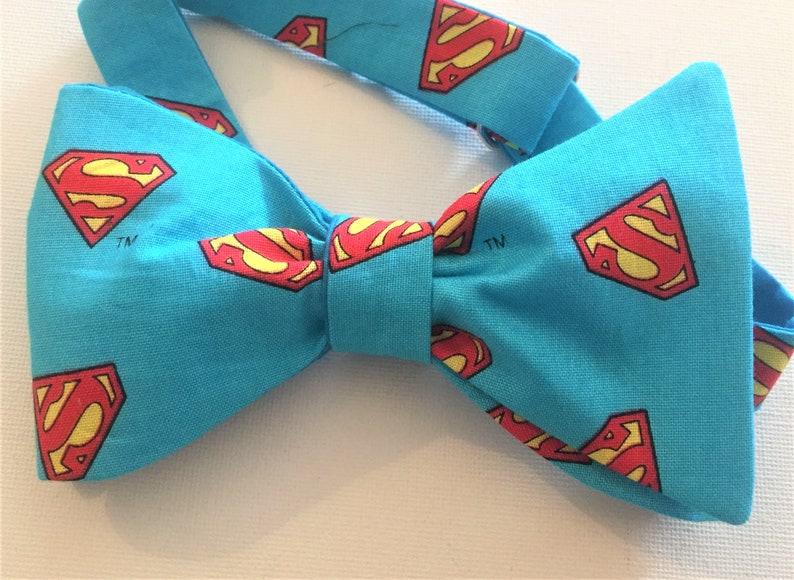 2c4cf101b649 Super Man Bow Tie Self tie or Pre-Tied. Super Dad Fathers | Etsy