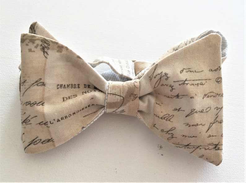 46885d312fdf French Parchment Bow Tie: Reversible Self tie or Pre-Tied. | Etsy