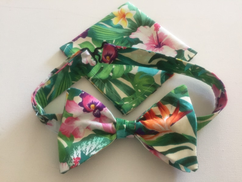 c02e2c1a1712 Rainforest Blooms Bow Ties and/or Pocket Squares. Tropical   Etsy
