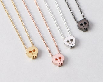 Great Gift Silver Tone Day Of The Dead Style Skull Necklace