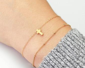 Tiny Cross Bracelet B19 • Gold Cross Bracelet, Layering Bracelet, Christian Jewelry, Cross Bracelet, Dainty Jewelry, Tiny Cross Bracelet